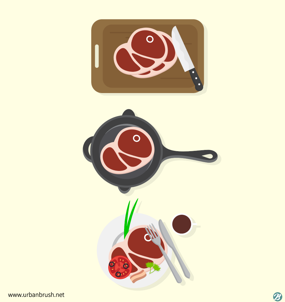 Steak Cooking Illustrations ai Free Download vector file