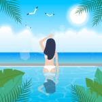 해변 수영장 여인 일러스트 ai 무료다운로드 free Beach Swimming Pool Woman