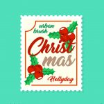 크리스마스 우표 일러스트 ai 무료다운로드 Free Christmas stamp vector